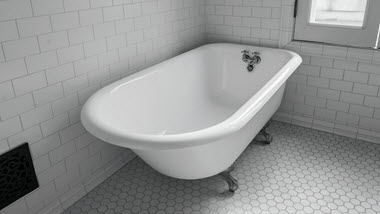Refinished clawfoot bathtub
